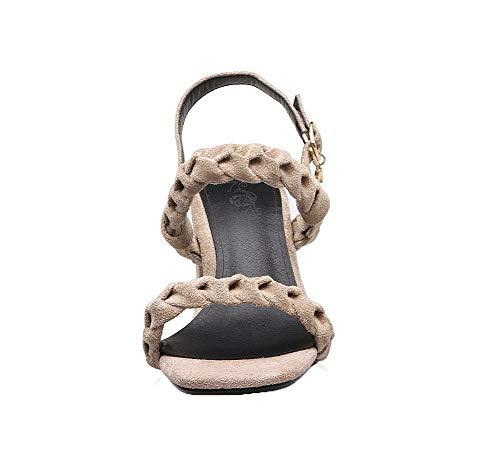 Correct Boucle Femme Talon TSFLH006039 Sandales d'orteil Ouverture AalarDom Kaki à wx4Ygqwt