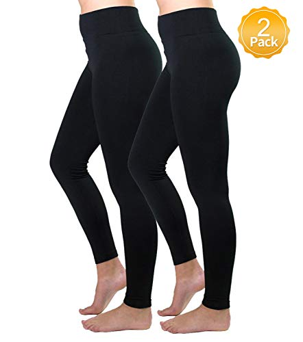 4e4b5b1d0e471 Diravo 2 Pack High Waist Leggings for Women Fleeced Lined Winter Thick  Leggings