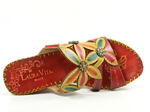 Laura Vita AW21005-5 Varier Zuecos fashion de cuero mujer Rot