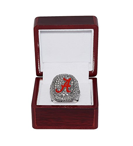 Football Bcs Champions - UNIVERSITY OF ALABAMA CRIMSON TIDE (Coach Nick Saban) 2015 BCS NATIONAL CHAMPIONS Rare Collectible High-Quality Replica Silver NCAA Football Championship Ring with Cherrywood Display Box