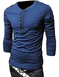 NQ Mens Casual Solid Slim Fit Long Sleeve Button O Neck T-Shirt