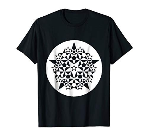 (Crop Circle Tee Shirt: Amazing 5 pt star fractal stars)