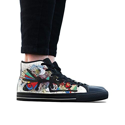 Canvas Schoenen, Custom Street Graffiti Moon Hoge Top Dames Zwart Klassieke Casual Mode Canvas Sneakers