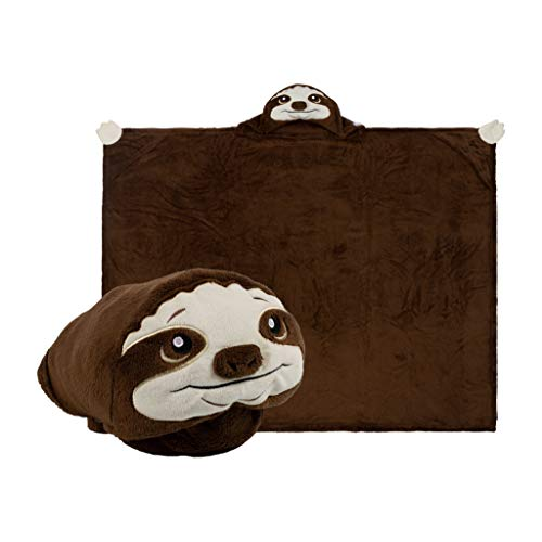 Comfy Critters Sloth Stuffed Animal Blanket - Kids All-in-One Loveable Fleece Pillow, Stuffed Animal and Blanket for Play, Nap Time, Travel.