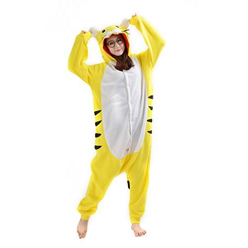 Tutina Kigurumi WOWcosplay Felpa Pikachu con giapponese Pigiama cappuccio Tiger Anime Pajamas Yellow Cosplay motivo Pokemon Sg4Bn