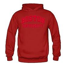 Women's Boston University Logo Sports Blank Hooded Sweatshirt XX-Large Red