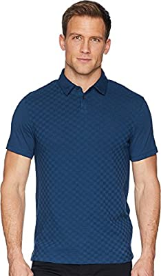 Calvin Klein Mens Short Sleeve Front Printed Johnny Collar Polo with Contrast Back
