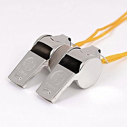 2X Football Soccer Sports Referee Metal Whistle Emergency Survival Kit Lanyard