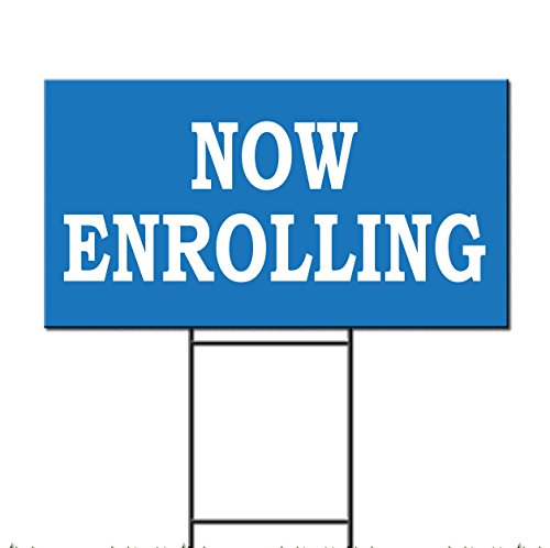 Now Enrolling Baby Day Care School Corrugated Plastic Yard Sign /FREE Stakes 18 x 24 Inches Two Sides Print