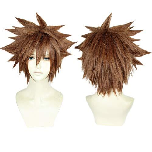 Kingdom Hearts Sora Halloween Cosplay (Cosplay Wig Heat Resistant Brown Short Layered Anime Party XMAS Halloween Costume Full)