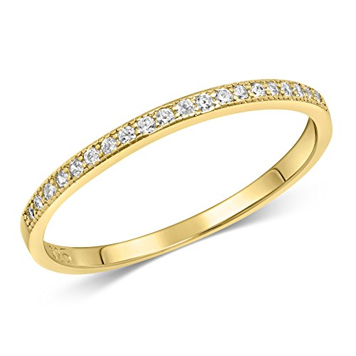 Sterling Silver Stackable Cubic Zirconia Half Eternity Band Ring – Yellow Gold Plated – Size 6