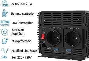 EDECOA inversor 24v 220v convertidor 2000w y pico de 4000w 2x USB ...
