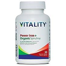 VITALITY Power Iron Plus Organic Spirulina, 45 Mg Iron Bisglycinate Veg Capsules, 30 Count