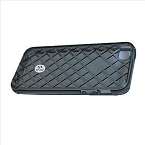YHHao Funda de Silicona Suave Protectora con Rhombus Estriaci¨®n Curve Compatible para Iphone4 5 5G Negro