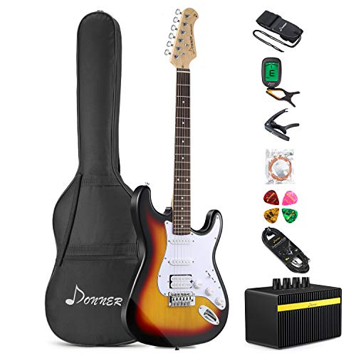 Donner DST-1S Solid Full-Size 39 Inch Electric Guitar Kit Sunburst Package with Amplifier, Bag, Capo, Strap, String, Tuner, Cable and - Guitar Solid