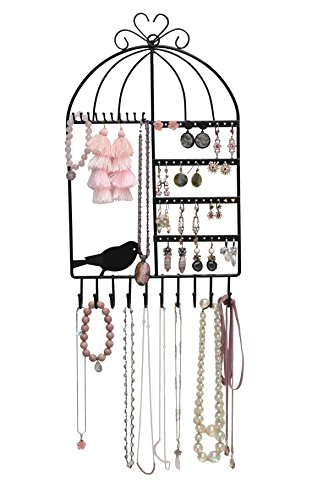Jewelry Organizer for Display — Jewelry Stand for Hanging Rings & Earrings, Wall-Mounted Vintage Inspired Birdcage Jewelry ()