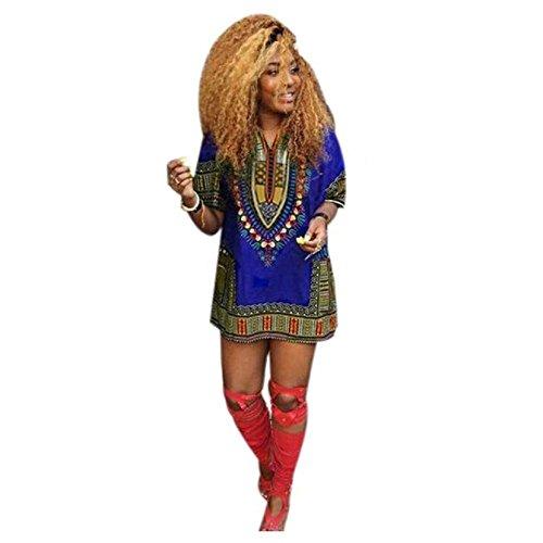 FEITONG Femmes Robe d'été traditionnelle Africaine Imprimer Décontracté droite Imprimer Au-dessus du genou Mini Robes