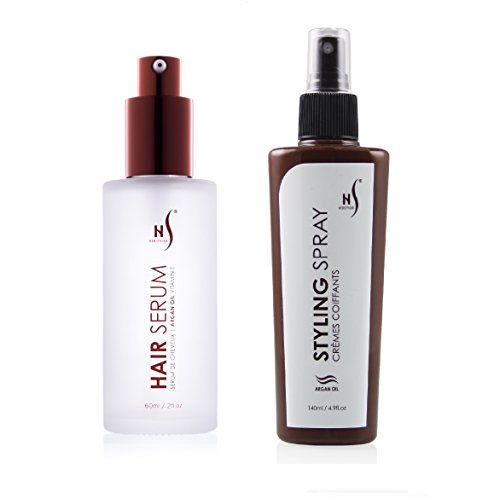 Iso Hair Styling Set (Herstyler Hair Styling Spray and Argan Oil Hair Serum Set, From Naturally Sloppy to Sleek In Seconds…)