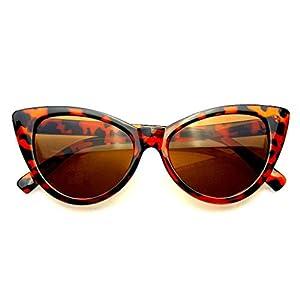Fashion Classic Vintage Eyewear Cat Eye Designer Shades Frame Sunglasses (Brown, 50)