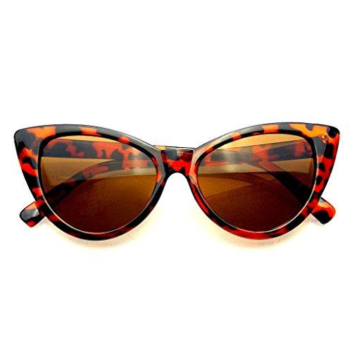 Fashion Classic Vintage Eyewear Cat Eye Designer Shades Frame Sunglasses (Brown, - Subglasses Vintage