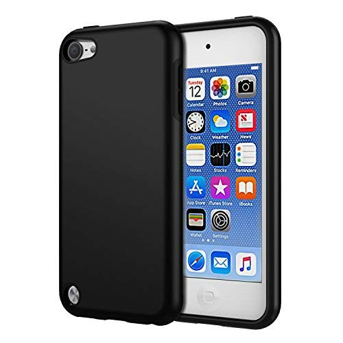 KELIFANG Case Compatible with iPod Touch 6 and 5, Ultra Slim Full Body Protective Case with Dual Layer Shockproof TPU Bumper Hard Back Cover Compatible with 6th/5th Generation, Black