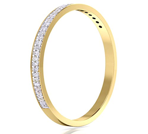 14k Gold Half Band Natural Diamond Wedding Anniversary Ring (1/10 cttw, G-H Color, I1-I2 Clarity) (yellow-gold, 5.5) by Buy Jewels