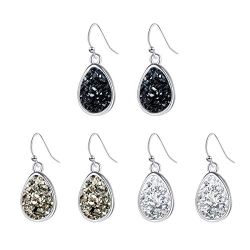 - Teardrop Druzy Earring Dangles Silver Plating Boho Jewelry with Black Gray White Gemstone for Girls Christmas Gifts