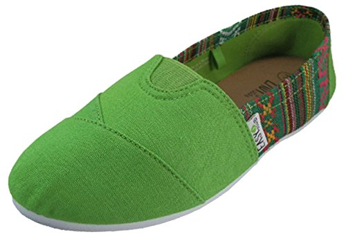 Slip Green Canvas 2 Womens on Shoes Colors 308L Flats Tone 10 U5wdzqxw