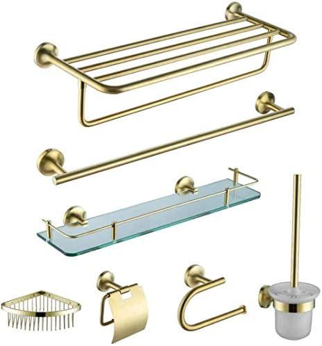 ゴールドのバスルームシリーズセット粘着タオルラックセットウォールマウントフリースタンディングドアオーバーキッチンとリビングルーム