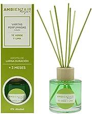 Ambientair Mikado Ambientador para Hogar, Aroma Te Lima, Difusor de varillas, Verde, 8 x 8 x 24 cm