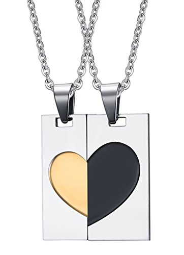 Prayer In C Costume (Aooaz Couple Stainless Steel Pendant Necklace For Men Women Love Heart Puzzle Black Gold Necklace Gothic)