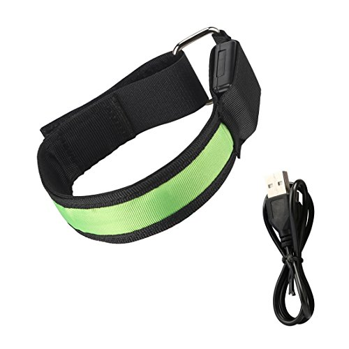 NORZERO LED Armband USB Rechargeable Glow Armband Running Armband LED Bracelet, Glow in the Dark, Safety Running Gear, Ankle Band, Bicycle Safety Band(Green)