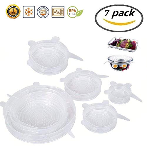 Silicone Stretch Lids,7-Pack Various Sizes Cover for Bowl(includes EXCLUSIVE XL SIZE), Superior for Keeping Food Fresh, Dishwasher and Freezer Safe