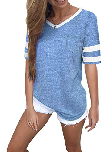 Twotwowin Women's Summer Tops Casual Cotton V Neck Sport T Shirt Short/Long Sleeve Blouse (Sky-Blue, Small)