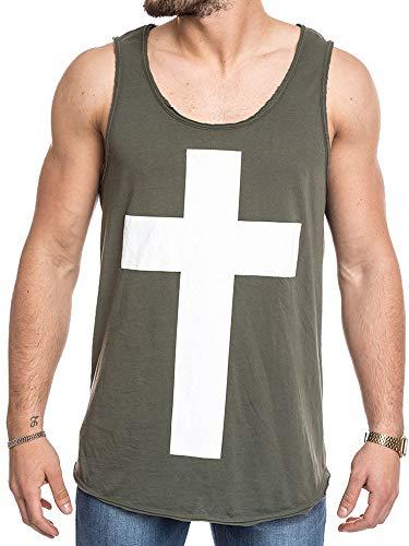 Taoliyuan Mens Sleeveless Contrast Color T-Shirt Vintage Crusader Costume Knight Patriotic Retro Tank Top Green