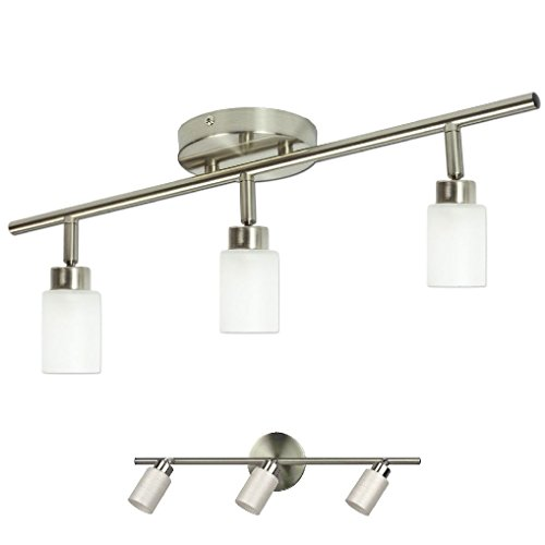 Brushed Nickel 3 Light Track Lighting Fixture Wall or Ceiling Mount - Brushed Nickel Extensions Track Lighting