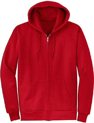 Joe's USA Full Zipper Hoodies - Hooded Sweatshirts Size 5XL, Red