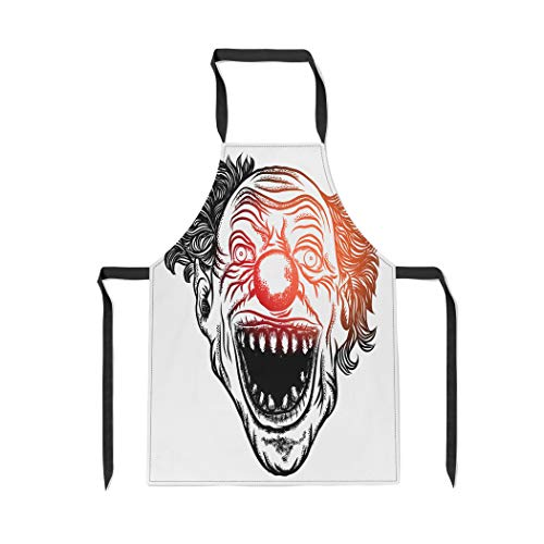 Tinmun Adjustable Bib Apron Scary Clown Head of Circus Horror Film Character Laughing Kitchen Apron for Men and Women BBQ Grill Baking Cooking