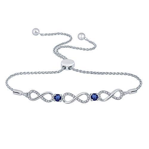 (1/10 ct Round White Diamond Created Blue Sapphire 925 Sterling Silver Infinity Bolo Strand Bracelet)
