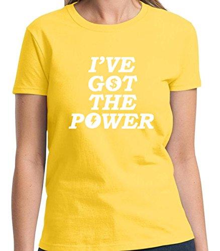 I got the power Humorous Funny Women's Tshirt Short Sleeve Allure & Grace (Small, Daisy Yellow) (Great Gatsby Daisy Dress)