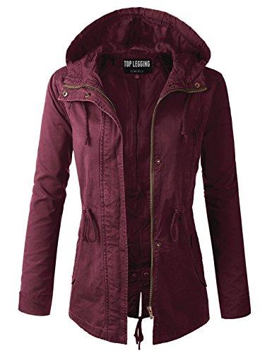Parka Drawstring - TOP LEGGING TL Women's Versatile Militray Anorak Parka Hoodie Jackets with Drawstring Y65543 Burgundy 3XL