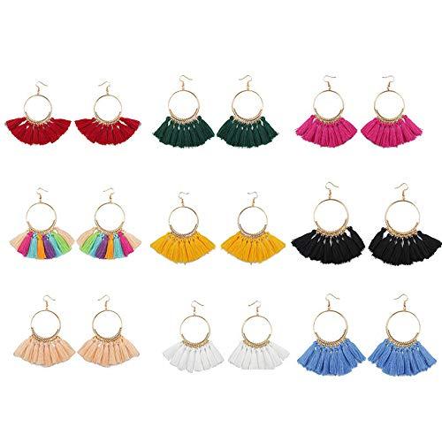 FEDULK 9 Pairs Tassel Hoop Earrings Bohemia Fan Shape Drop Earrings Dangle Hook Eardrop for Women Girls (Me Box Store Jewelry Near)