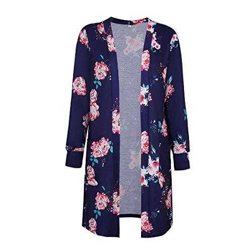 À Cardigan Medium Fuxitoggo Imprimé Femmes Bleu Pour Manches Marin Taille coloré Floral Longues 75ZZCxqwd