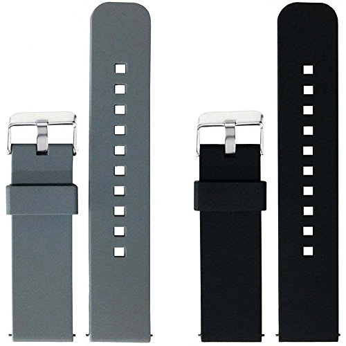 2pcs Replacement Silicone Bands for Fossil Q Marshal Gen 2 Touchscreen Only - Black Marshal
