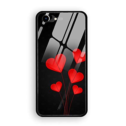 - Phone 7/8 Tempering Case Ultra-Thin Shockproof Rubber Cover Phone 7/8 Hearts Red Black