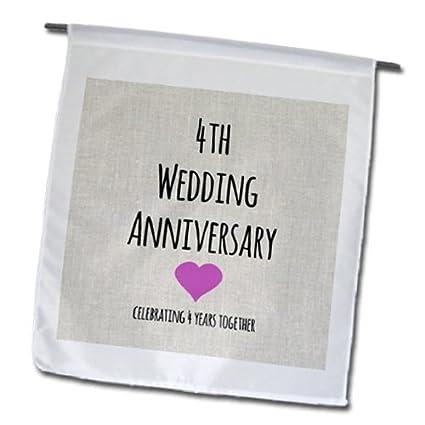 Amazon.com : 3dRose fl_154431_1 4th Wedding Anniversary Gift Linen ...