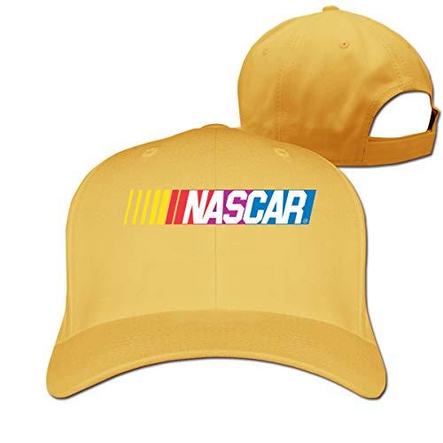 Adjustable Unisex Men Women NASCAR - Print Cotton Baseball Cap Snap - Back Flat Brim Hats Hip Hop Snapback Hat Yellow