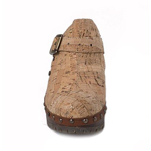 nae Cork Clog - Zapatos mujer con tacón 100% veganos y ecológicos. Fabricados con corcho