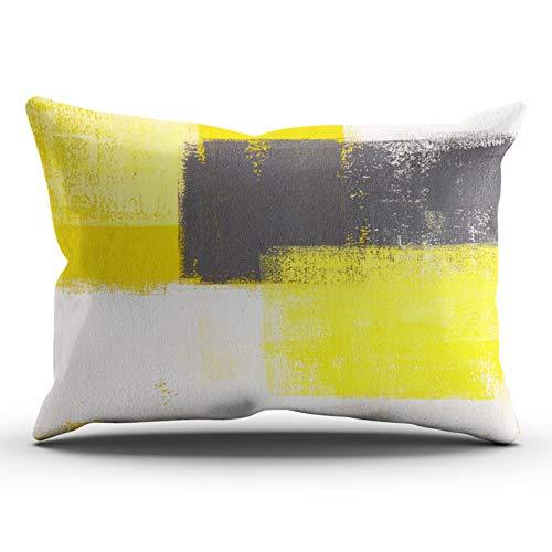 Cushion One - XIUBA Pillowcases White Simply Modern Grey Yellow Abstract Customizable Cushion Decorative Rectangle 12x24 inch Lumbar Size Throw Pillow Cover Case Hidden Zipper One Side Design Printed