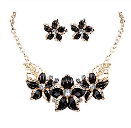 Austrian Crystal Rhinestones Flower Statement Wedding Earring&Necklace Jewelry Sets